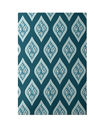 E By Design Floral Teal Indoor/Outdoor Area Rug; Rectangle 2' x 3'