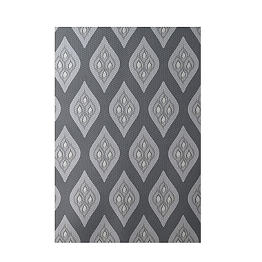 E By Design Floral Dark Gray Indoor/Outdoor Area Rug; Rectangle 2' x 3'