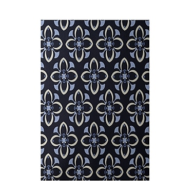 E By Design Floral Navy Blue Indoor/Outdoor Area Rug; Rectangle 2' x 3'