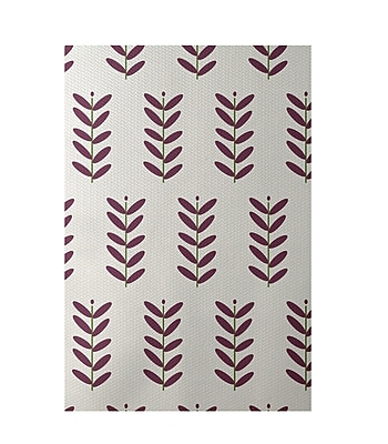 E By Design Floral Off White Indoor/Outdoor Area Rug; Rectangle 4' x 6'
