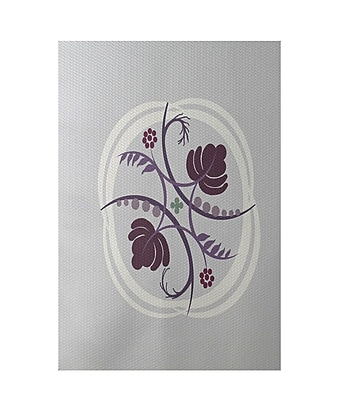 E By Design Floral Light Gray Indoor/Outdoor Area Rug; Rectangle 2' x 3'