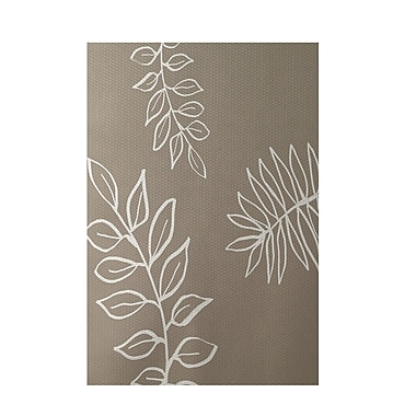 E By Design Floral Beige Indoor/Outdoor Area Rug; Rectangle 2' x 3'