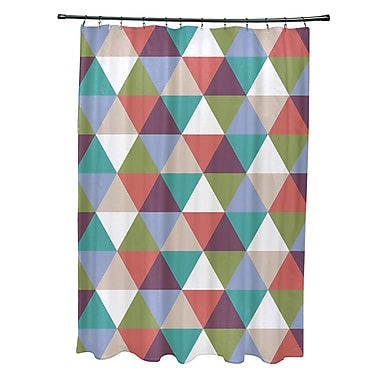 E By Design Subline Geometric Shower Curtain; Green/Coral