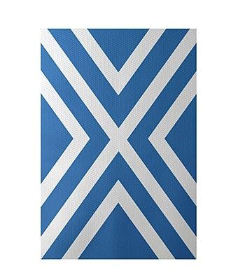 E By Design Stripe Blue Indoor/Outdoor Area Rug; Rectangle 2' x 3'