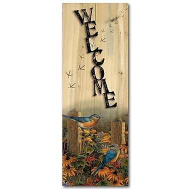 WGI GALLERY Welcome Linda's Bluebirds by Sam Timm Graphic Plaque; 24'' H x 8'' W x 1'' D