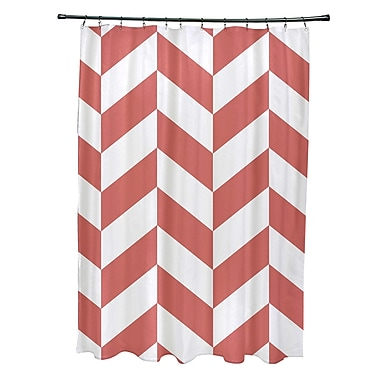 E By Design Subline Geometric Shower Curtain; Coral