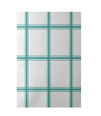 E By Design Geometric Aqua Indoor/Outdoor Area Rug; Rectangle 2' x 3'
