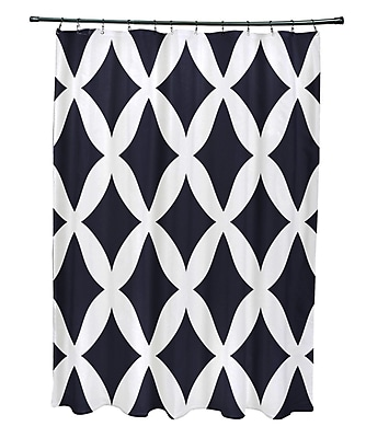 E By Design Subline Geometric Shower Curtain; Navy Blue