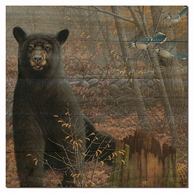 WGI GALLERY Stonewall Bear by Michael Sieve Painting Print Plaque in Black; 12'' H x 12'' W x 1'' D