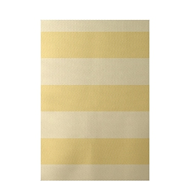 E By Design Stripe Yellow Indoor/Outdoor Area Rug; Rectangle 2' x 3'