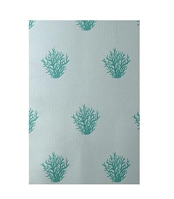 E By Design Coastal Soft Aqua Indoor/Outdoor Area Rug; Rectangle 2' x 3'
