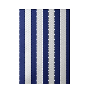 E By Design Stripe Blue Indoor/Outdoor Area Rug; Rectangle 2' x 3'