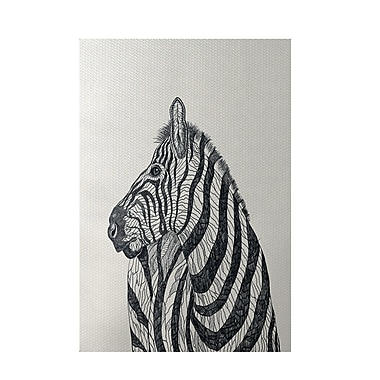 E By Design Zebra Print Off White Indoor/Outdoor Area Rug; 2' x 3'