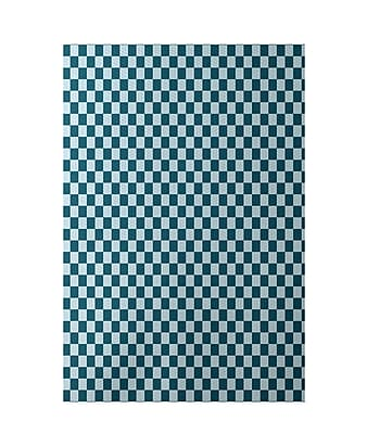E By Design Geometric Blue Indoor/Outdoor Area Rug; Rectangle 2' x 3'