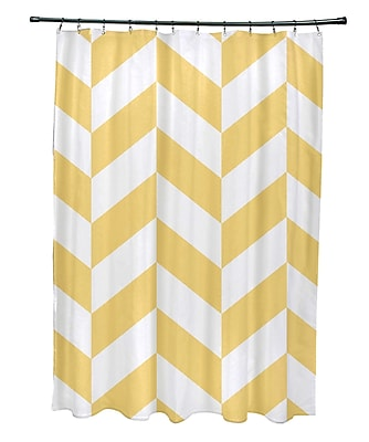 E By Design Subline Geometric Shower Curtain; Yellow