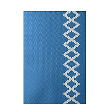 E By Design Geometric Blue Indoor/Outdoor Area Rug; 2' x 3'