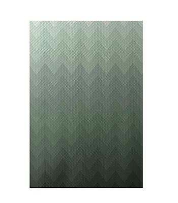 E By Design Chevron Green Indoor/Outdoor Area Rug; Rectangle 2' x 3'