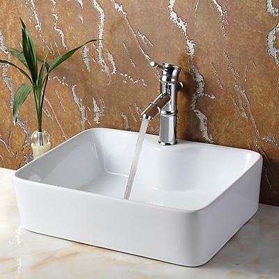 Elite Ceramic Rectangular Vessel Bathroom Sink; Brushed Nickel