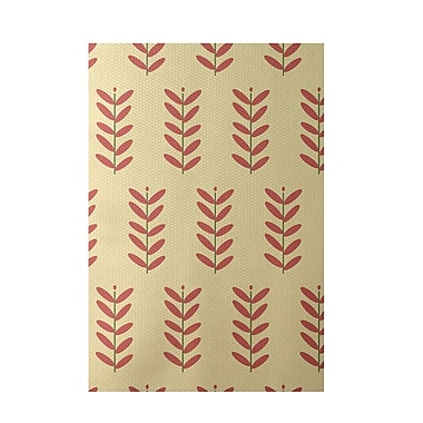 E By Design Floral Yellow Indoor/Outdoor Area Rug; Rectangle 2' x 3'