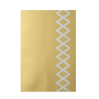 E By Design Geometric Yellow Indoor/Outdoor Area Rug; Rectangle 2' x 3'