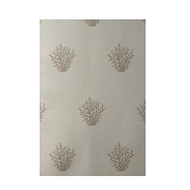E By Design Coastal Taupe Indoor/Outdoor Area Rug; 2' x 3'