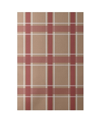 E By Design Geometric Taupe Indoor/Outdoor Area Rug; Rectangle 2' x 3'