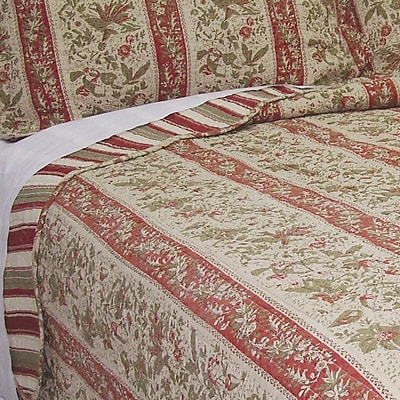 J&J Bedding Cary Floral Stripe Quilt; Queen