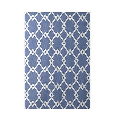 E By Design Geometric Light Blue Indoor/Outdoor Area Rug; Rectangle 2' x 3'
