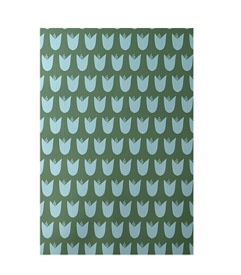 E By Design Floral Green Indoor/Outdoor Area Rug; Rectangle 2' x 3'