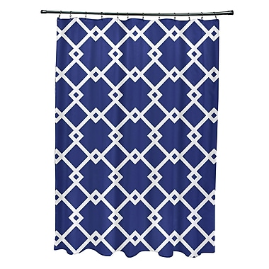 E By Design Subline Geometric Shower Curtain; Royal Blue