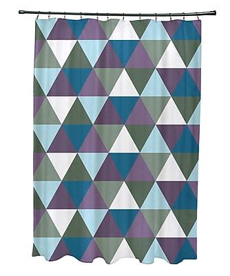 E By Design Subline Geometric Shower Curtain; Green/Blue
