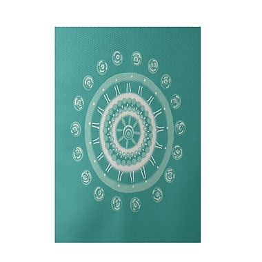 E By Design Geometric Green Indoor/Outdoor Area Rug; Rectangle 2' x 3'