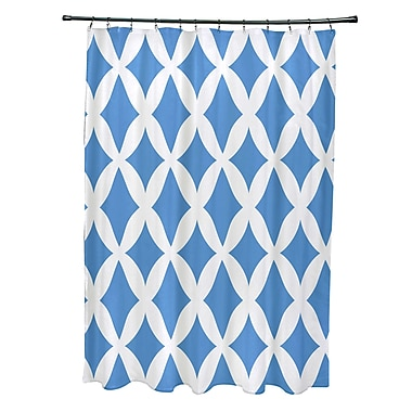 E By Design Subline Geometric Shower Curtain; Blue