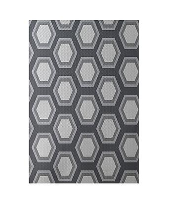 E By Design Geometric Dark Gray Indoor/Outdoor Area Rug; Rectangle 2' x 3'