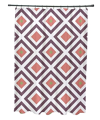 E By Design Subline Geometric Shower Curtain; Purple/Coral