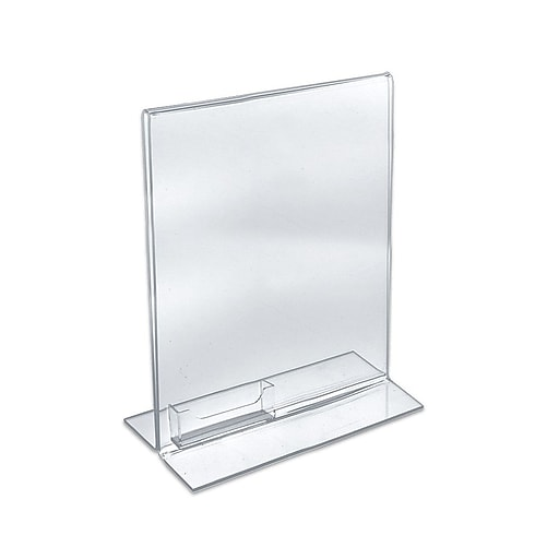 Azar displays stand up acrylic sign holder with business card holder httpsstaples 3ps7is reheart Image collections
