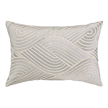 D.L. Rhein Osaka Waves Embroidered Decorative Linen Lumbar Pillow; Silver