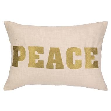 D.L. Rhein Peace Embroidered Decorative Linen Lumbar Pillow