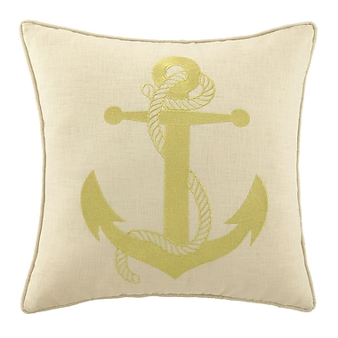 D.L. Rhein Anchor Embroidered Decorative Linen Throw Pillow