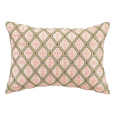 D.L. Rhein Tulipe Embroidered Decorative Linen Lumbar Pillow