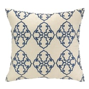 D.L. Rhein Filigree Embroidered Decorative Linen Throw Pillow; Navy Blue