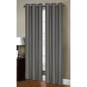 Bella Luna Henley Solid Semi-Sheer Curtain Panels (Set of 2); Charcoal