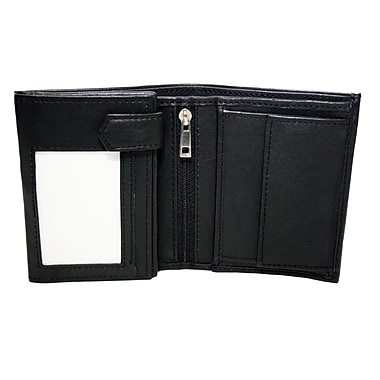 Ashlin Genuine Leather Smithsonian Unisex Billfold Wallet with Coin Pocket, Black