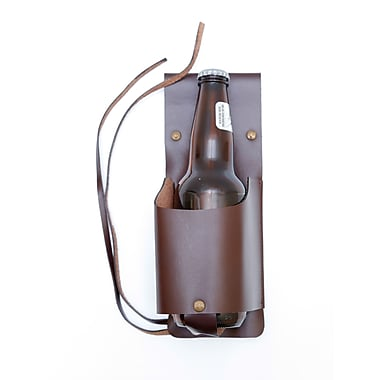Ashlin Genuine Leather Tanglewood Bottle Holster Belt, Dark Brown