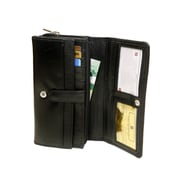 Ashlin Genuine Leather Ladies Bi-Fold Wallet with Chequebook, Black