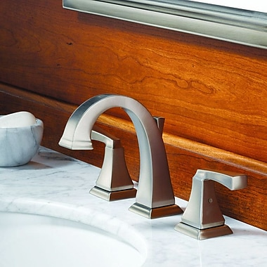 Dryden? Deck Mounted Double Handle Bathroom Faucet w/ Drain Assembly and Diamond Seal Technology