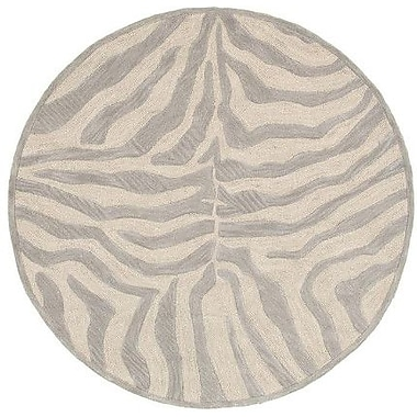 LR Resources Fashion Taupe/Sliver Zebra Area Rug; Round 3'
