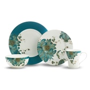 222 Fifth Eliza Teal 16 Piece Dinnerware Set, Service for 4