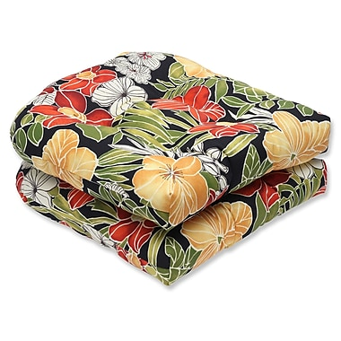 Pillow Perfect Clemens Noir Outdoor Dining Chair Cushion (Set of 2)