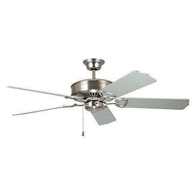 Kendal Lighting 52'' Excellence 5-Blade Fan; Satin Nickel with Silver Blades